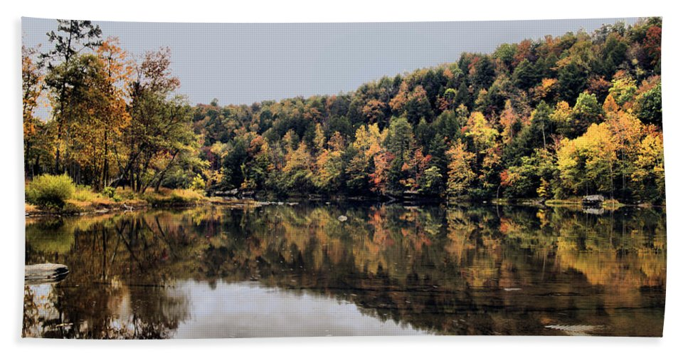 Rural Bath Sheet featuring the photograph On The River Two by Ken Frischkorn