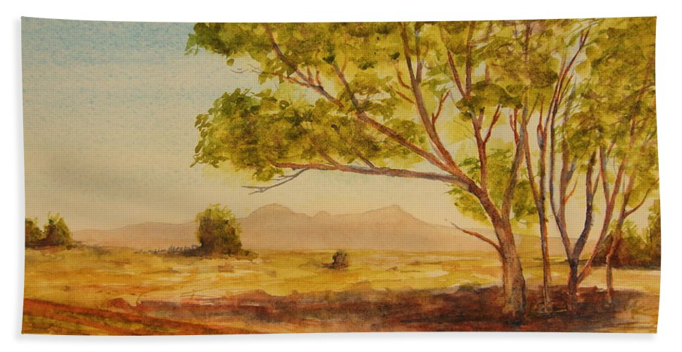 Broken Hill Bath Sheet featuring the painting On The Road To Broken Hill Nsw Australia by Tim Mullaney