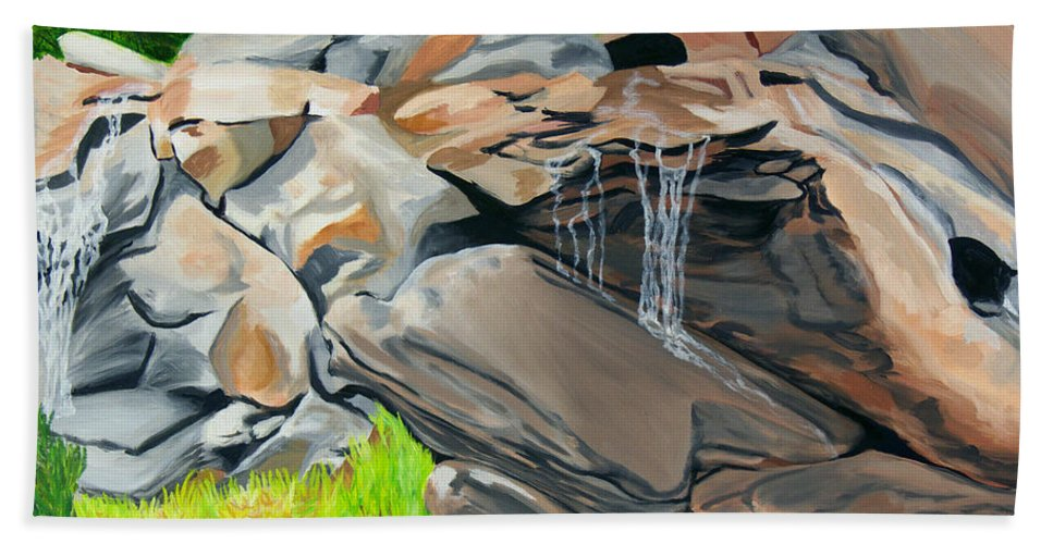 Nature Bath Sheet featuring the painting On The Rocks by Annette M Stevenson