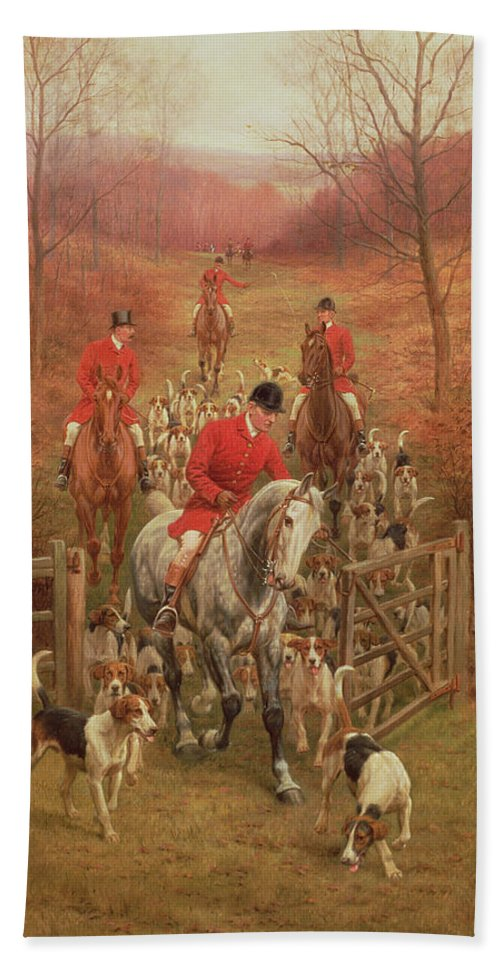 Foxhunting Bath Towel featuring the painting On The Scent, 1906 by Edward Algernon Stuart Douglas