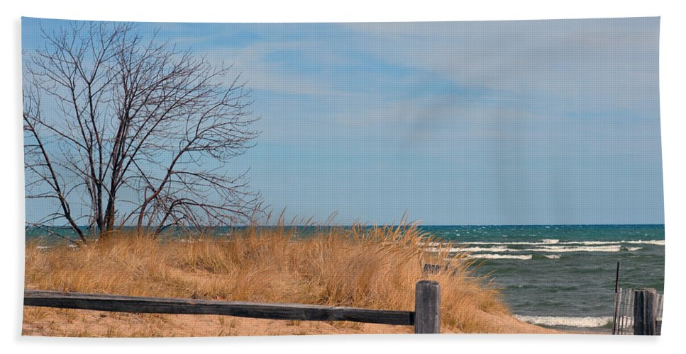 Lake Huron Hand Towel featuring the photograph On The Shore by Linda Kerkau