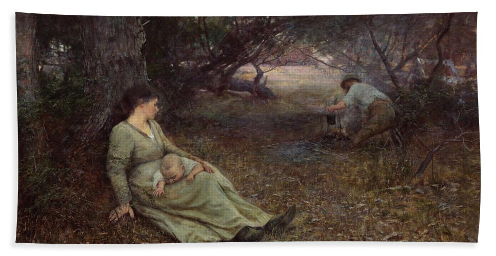 Frederick Mccubbin Bath Towel featuring the painting On the wallaby track by Frederick McCubbin