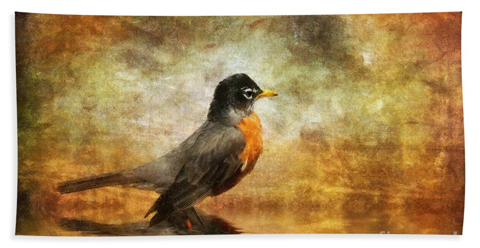 Robin Bath Sheet featuring the photograph On The Watch For Worms by Lois Bryan
