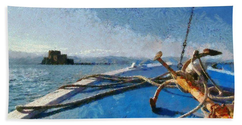 Bourtzi Bath Sheet featuring the painting On The Way To Bourtzi Fortress by George Atsametakis