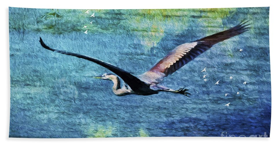 Blue Heron Bath Sheet featuring the painting On The Wings Of Blue by Deborah Benoit