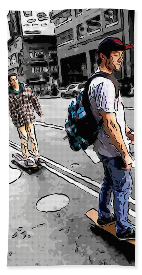 Skateboarders Bath Sheet featuring the photograph On Their Boards by Alice Gipson