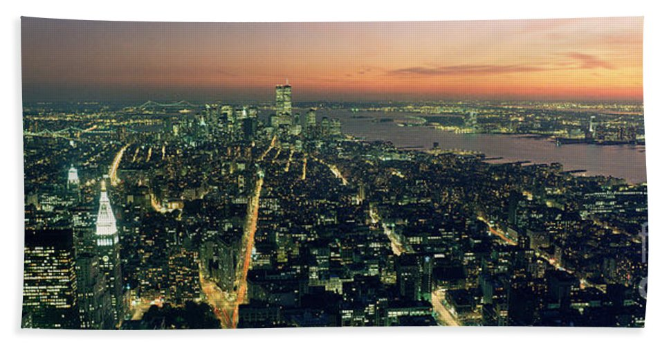 New York City Hand Towel featuring the photograph On Top Of The City by Jon Neidert