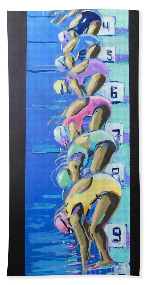 On Your Marks Bath Sheet featuring the painting On Your Marks by Lucia Hoogervorst