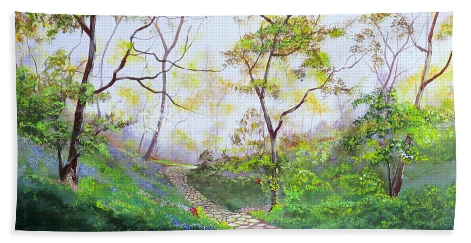 Stone Walk Hand Towel featuring the painting Once Around The Park by Michael Dillon