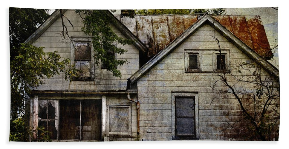 Abandoned; Home; House; Old; Farmhouse; Spooky; Peeling Paint; Derelict; Neglected; Sidewalk; Creepy; Dark; Entrance; Stairs; Door; Haunted; Porch; Eerie; Scary; Ruin; Mood; Gloomy; Rural Hand Towel featuring the photograph Once Lived In by Margie Hurwich