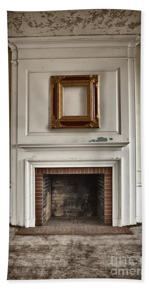 Interior; Inside; Indoors; Room; Living Room; Family Room; Abandoned; Empty; Cement; Peeling; Paint; Dirty; Aged; Creepy; Broken; Fireplace; Hearth; Trim; Frame; Ornate; Crown Molding; Bricks; Still Life Bath Sheet featuring the photograph Once Was by Margie Hurwich