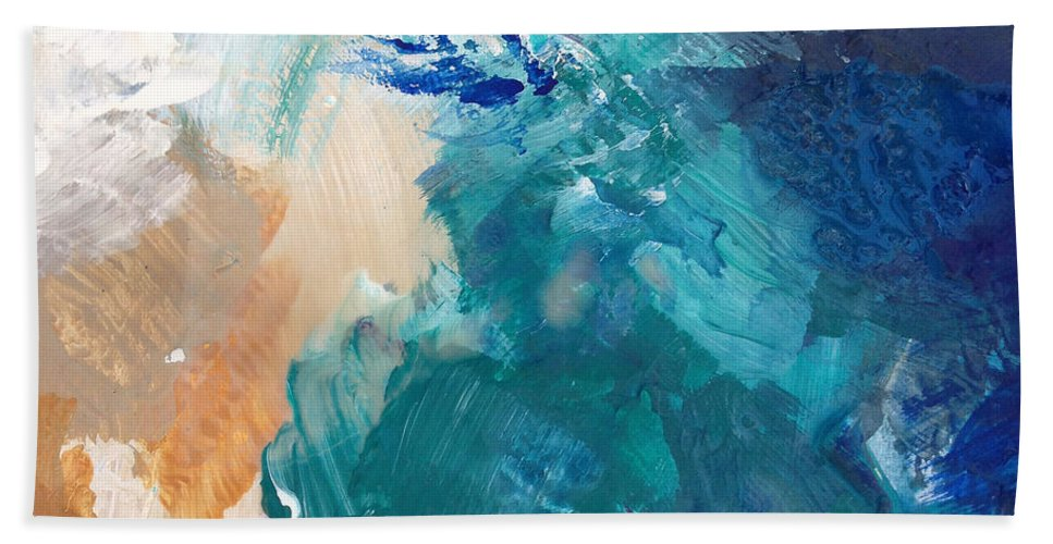 Abstract Painting Hand Towel featuring the painting On A Summer Breeze- Contemporary Abstract Art by Linda Woods