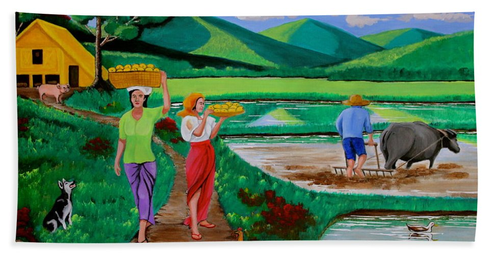 Landscape Hand Towel featuring the painting One Beautiful Morning In The Farm by Lorna Maza