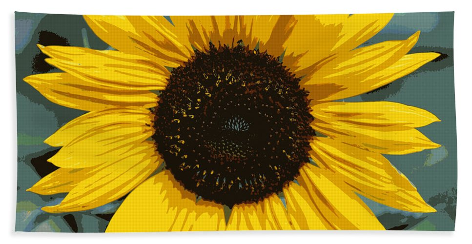 Sunflower Bath Sheet featuring the photograph One Bright Sunflower - Digital Art by Carol Groenen