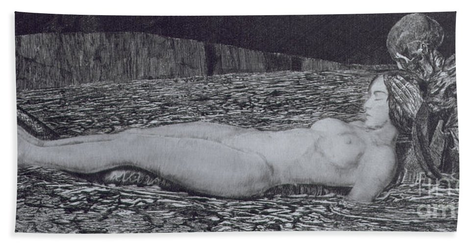 Nude Bath Sheet featuring the painting One Corpse by August Bromse