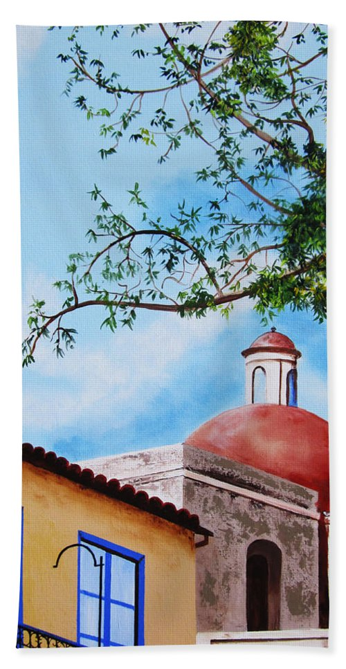 Cuba Bath Sheet featuring the painting One Fine Day In Cuba by Dominica Alcantara