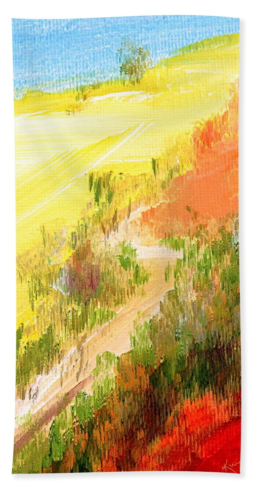 Rural Bath Sheet featuring the painting One Fine Spring Day by Kume Bryant