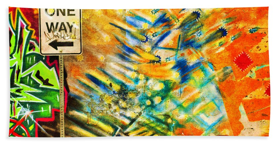 Graffti Hand Towel featuring the photograph One Way Street by Tara Turner