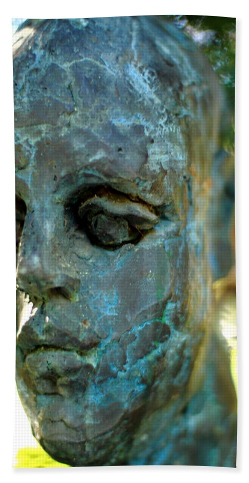 Bronze Man Hand Towel featuring the photograph Only A Face by Scott Hill