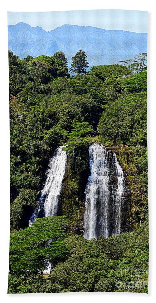 ʻŌpaekaʻa Falls Hand Towel featuring the photograph Opaekaa Falls In Kauai by Catherine Sherman