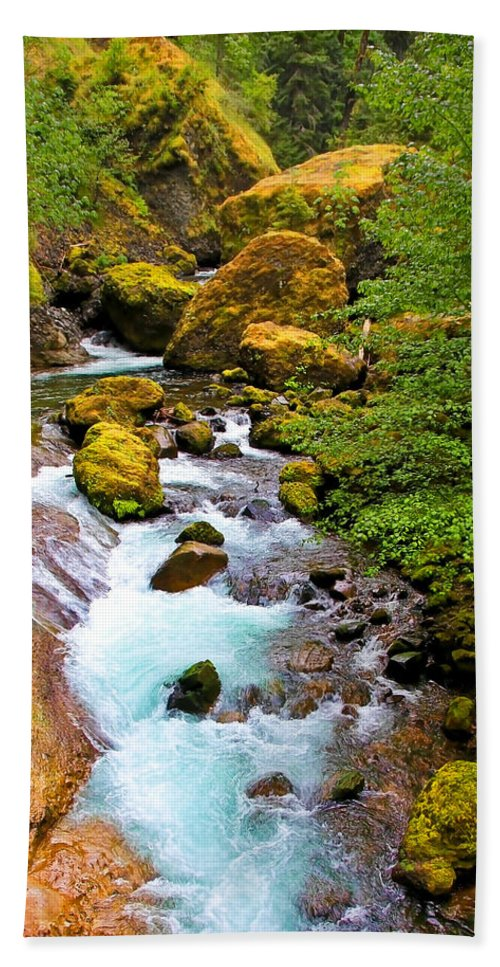 Wahclella Falls Hand Towel featuring the photograph Opal Rivers by Athena Mckinzie