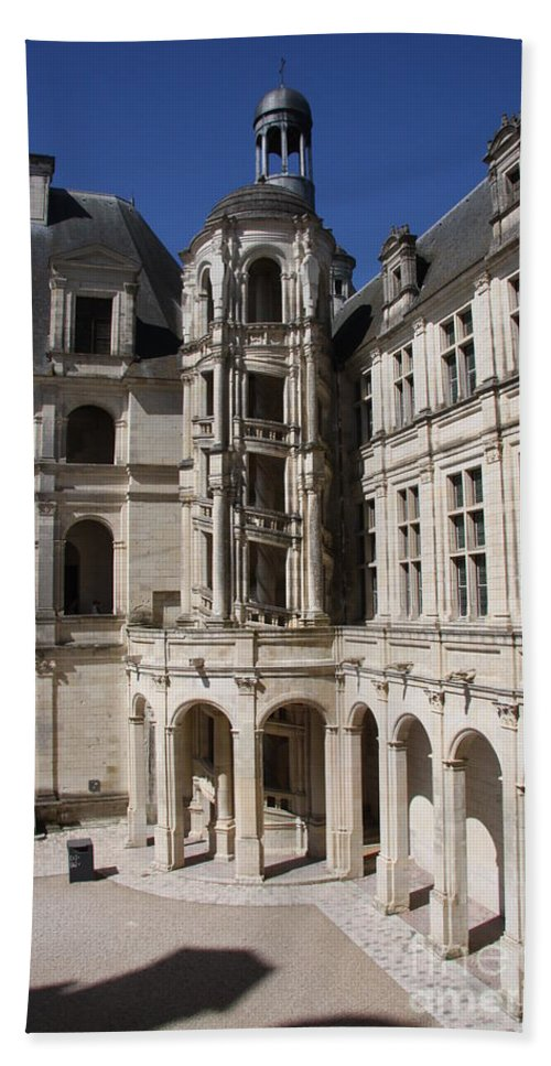 Palace Hand Towel featuring the photograph Open Staircase Chateau Chambord - France by Christiane Schulze Art And Photography