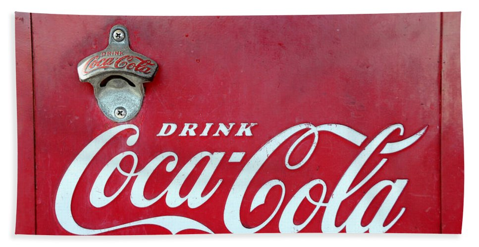 Coca Cola Hand Towel featuring the photograph Open The Real Thing by David Lee Thompson