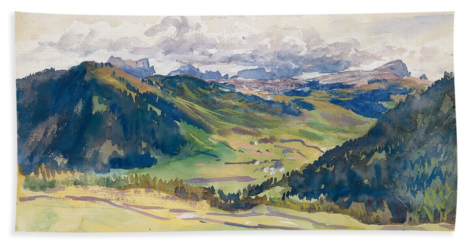 John Singer Sargent Bath Sheet featuring the painting Open Valley. Dolomites by John Singer Sargent