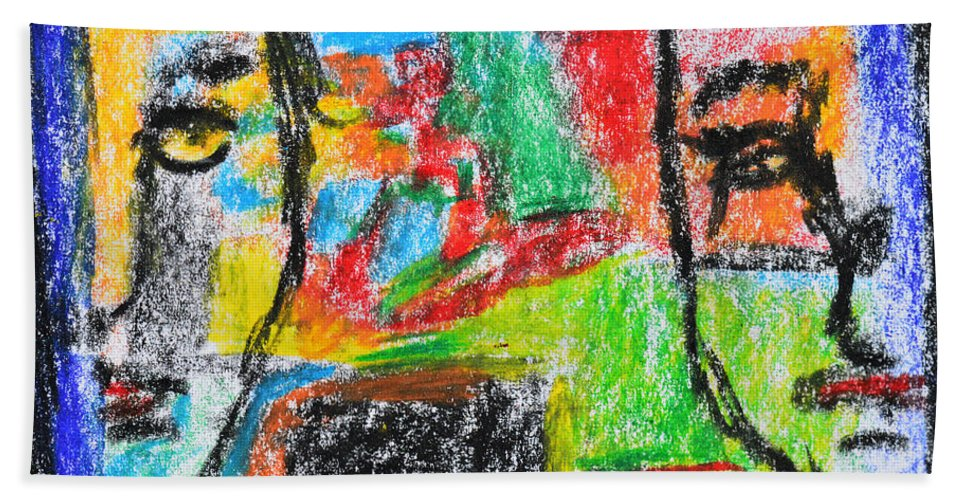 Face Hand Towel featuring the painting Opposites Attract by Donna Blackhall