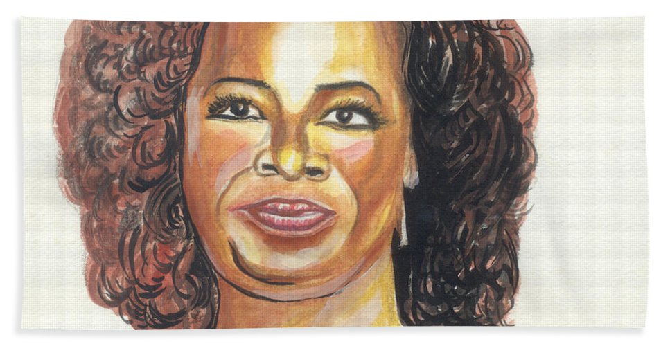 Actress Hand Towel featuring the painting Oprah Winfrey by Emmanuel Baliyanga