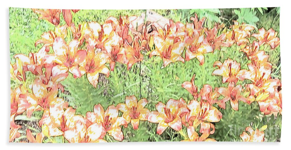 Floral Bath Sheet featuring the photograph Orange Asiatic Lilies by Beverly Guilliams