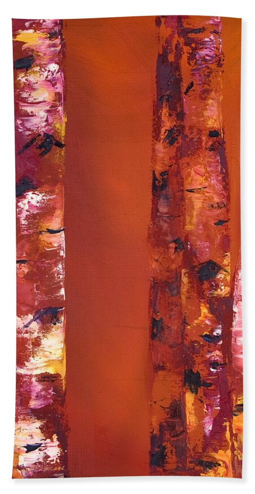 Aspens Hand Towel featuring the painting Orange Aspens by Jennifer Hickman