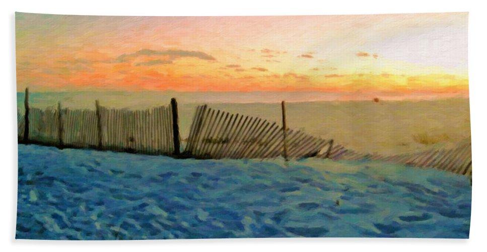 Beach Sunset Bath Sheet featuring the photograph Orange Beach Sunset - The Waning Of The Day by Rebecca Korpita