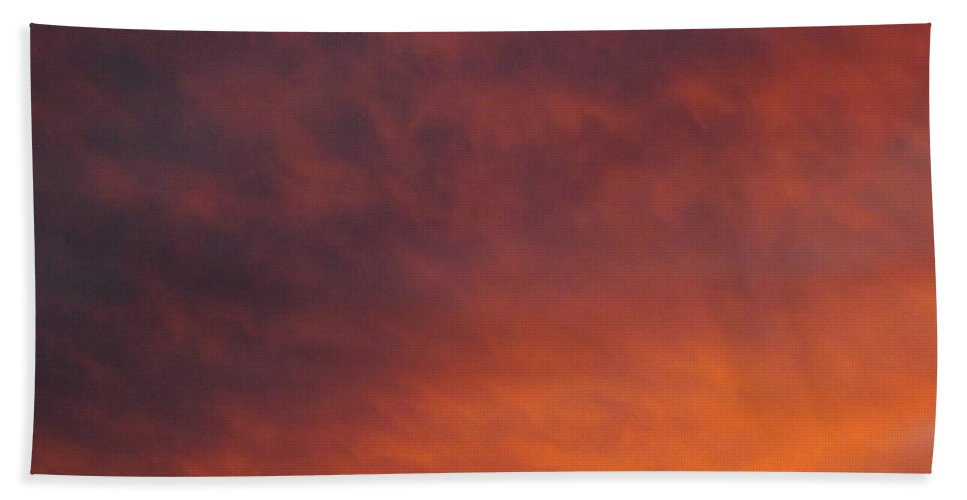 Sunset Hand Towel featuring the photograph Orange Clouds At Sunset by Jussta Jussta