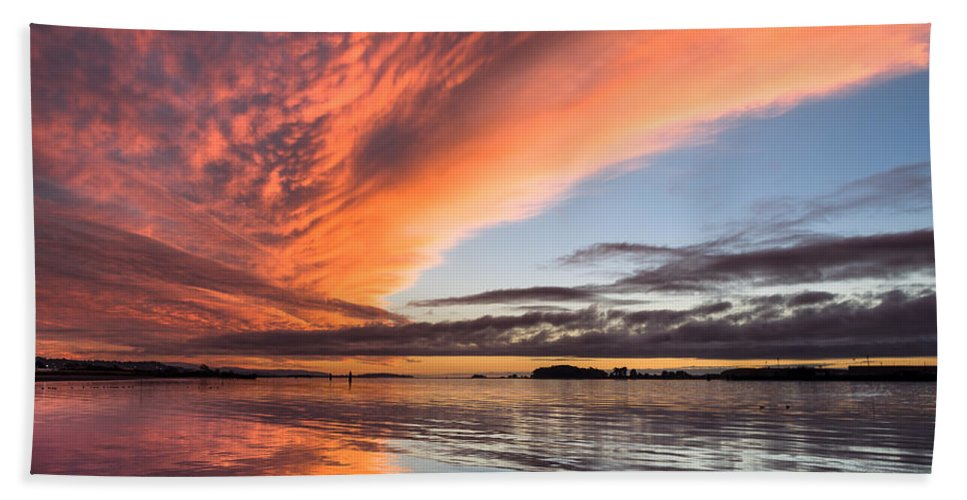 Dramatic Sky Hand Towel featuring the photograph Orange Clouds Over Humboldt Bay by Greg Nyquist