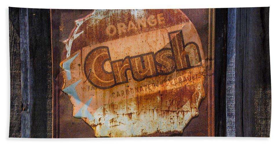 Orange Bath Sheet featuring the photograph Orange Crush Sign by Garry Gay