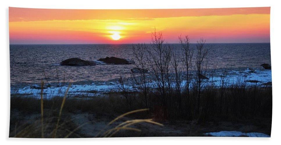 Lake Michigan Bath Sheet featuring the photograph Orange Delight by Linda Kerkau
