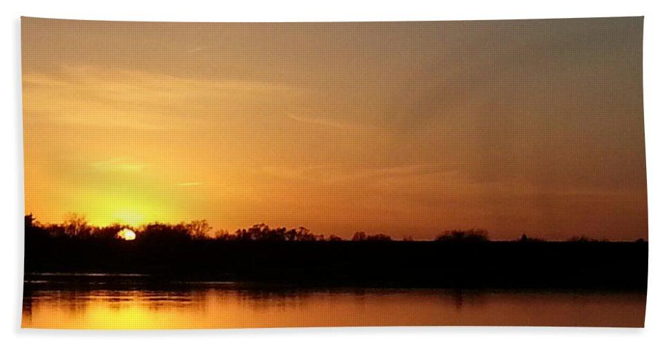 Lake Bath Sheet featuring the photograph Orange Fire Sunset by Caryl J Bohn