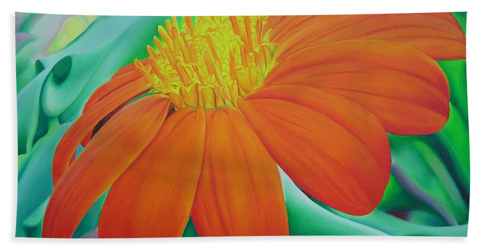 Flowers Hand Towel featuring the painting Orange Flower by Joshua Morton