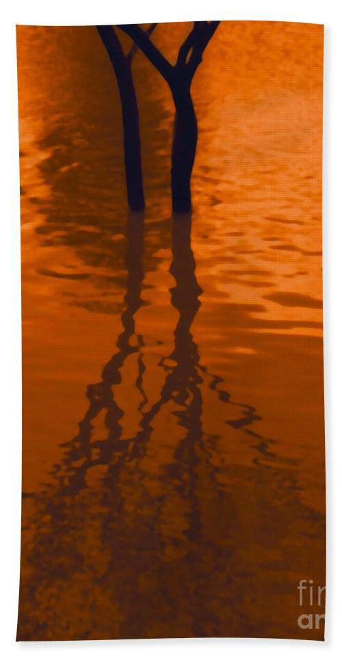 Water Hand Towel featuring the photograph Orange Glow by Heather Kirk