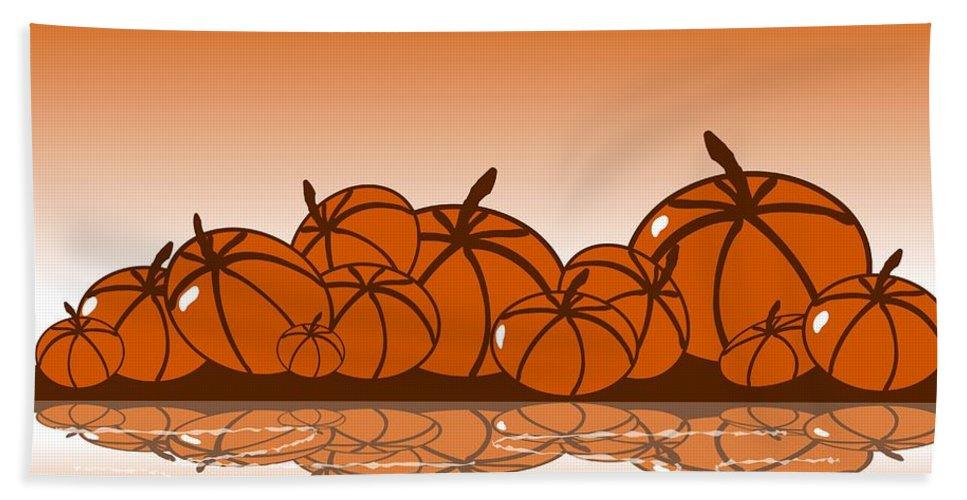 Abstract Bath Towel featuring the digital art Orange Harvest by Anastasiya Malakhova