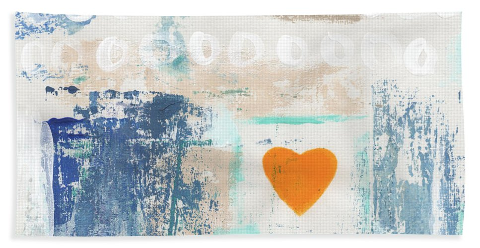 Heart Hand Towel featuring the painting Orange Heart- abstract painting by Linda Woods