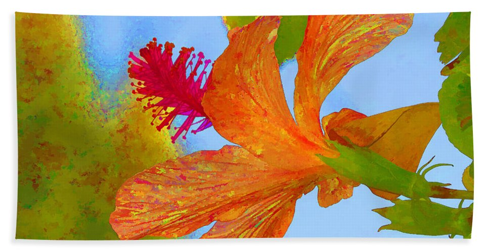 Hibiscus Hand Towel featuring the photograph Orange Hibiscus by Helaine Cummins
