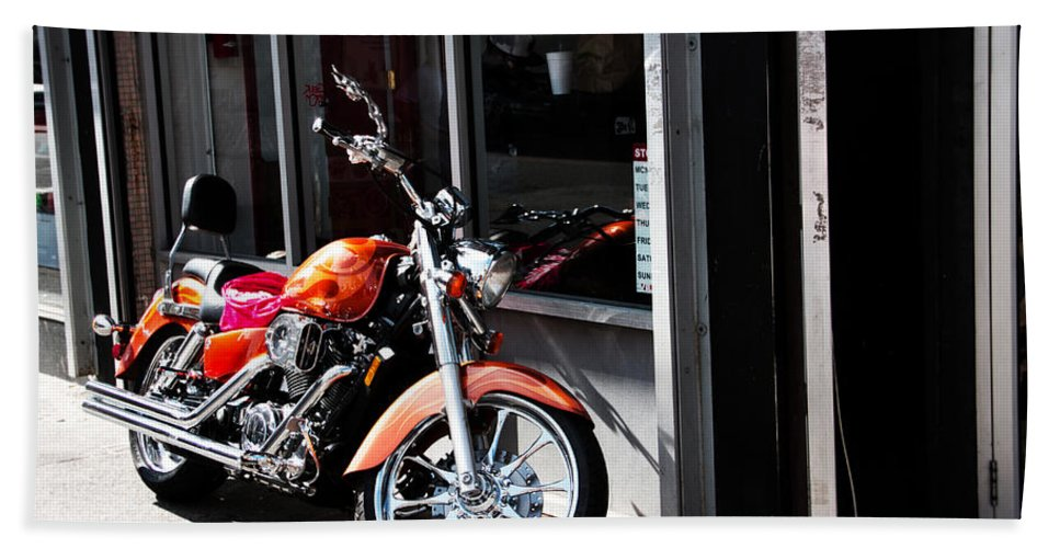 Germantown Bath Sheet featuring the photograph Orange Motorcycle by Alice Gipson