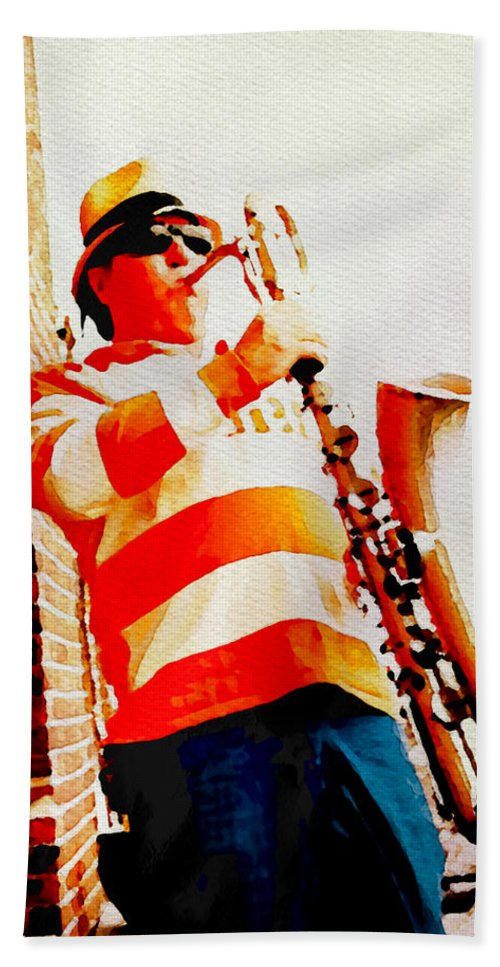 Saxophone Bath Sheet featuring the photograph Orange On White by Alice Gipson
