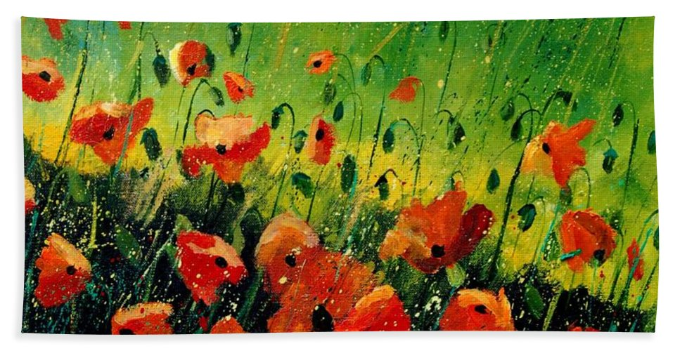 Poppies Bath Towel featuring the painting Orange poppies by Pol Ledent