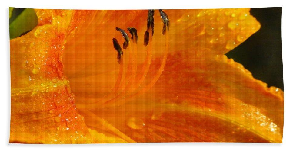 Orange Bath Towel featuring the photograph Orange Rain by Karen Wiles