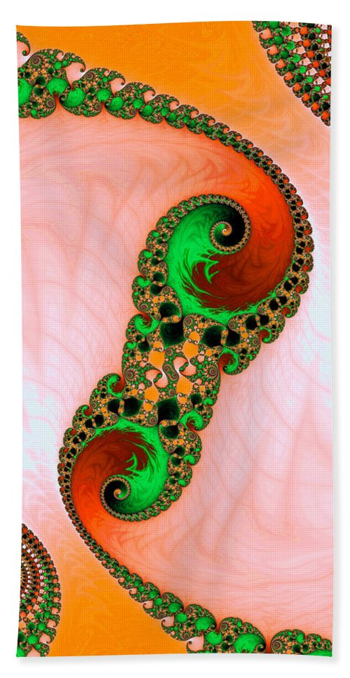 Orange Hand Towel featuring the digital art Orange Red And Green Abstract Fractal Art by Matthias Hauser