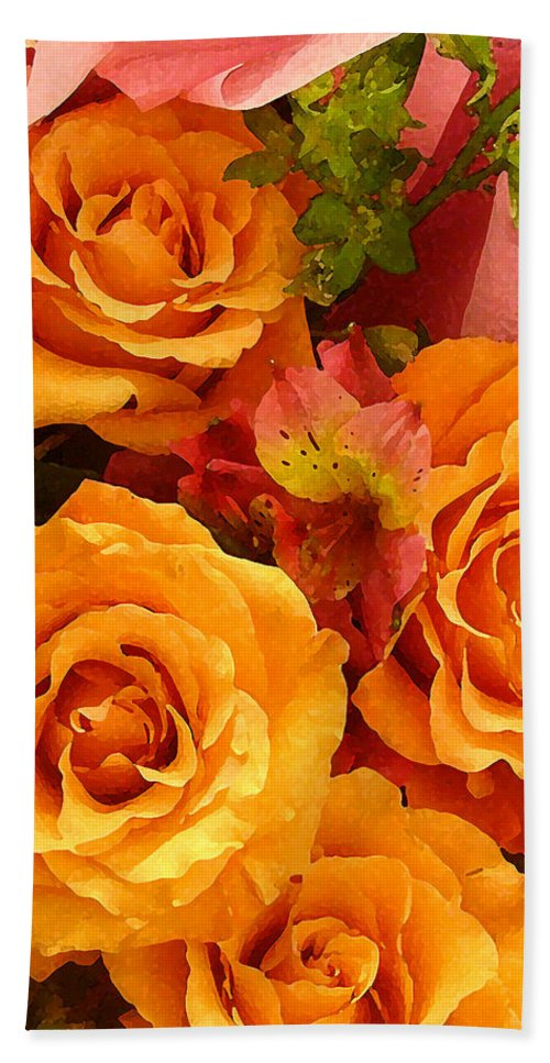 Roses Hand Towel featuring the painting Orange Roses by Amy Vangsgard