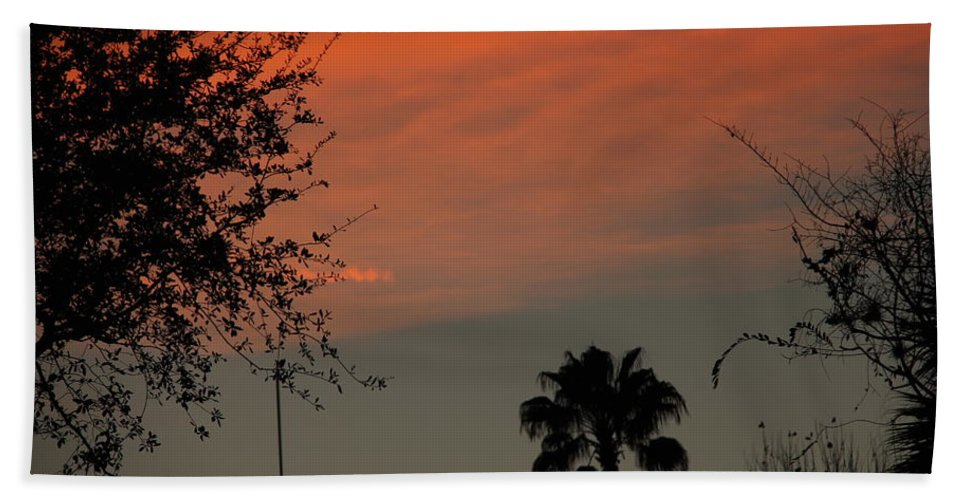 Sunset Hand Towel featuring the photograph Orange Skies by Denise Mazzocco